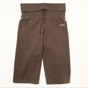 Reebok brown fold over yoga capris size small